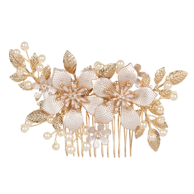 New Handmade Crystals Rhinestones Pearls Flower Hair Comb Bridal Headpieces Hair Accessories Bridesmaid Tiara Wedding Jewelry