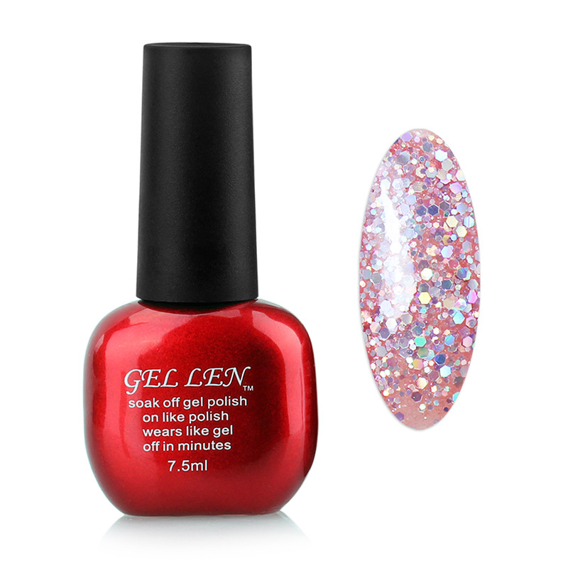 Gel Len Glitter Nail Polish 7ml UV Soak off Nail Gel Varnish Brand ...