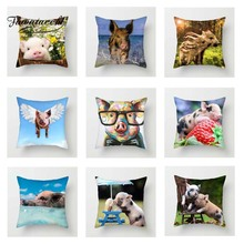 Fuwatacchi Cute Pets Cushion Cover Funny Pink Pigs Throw Pillow For Sofa Bed Decor Home Strawberry Pillowcase