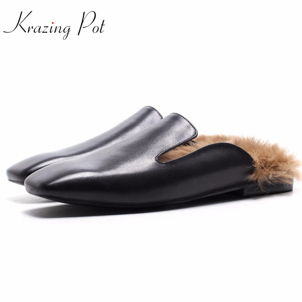 Krazing Pot fashion brand spring shoes vintage outside slippers square toe low heels women pumps rabbit fur pregnant mules L30 fedonas fashion women pumps casual women square toe low heels mules slip on slippers rivets button leisure retro british pumps