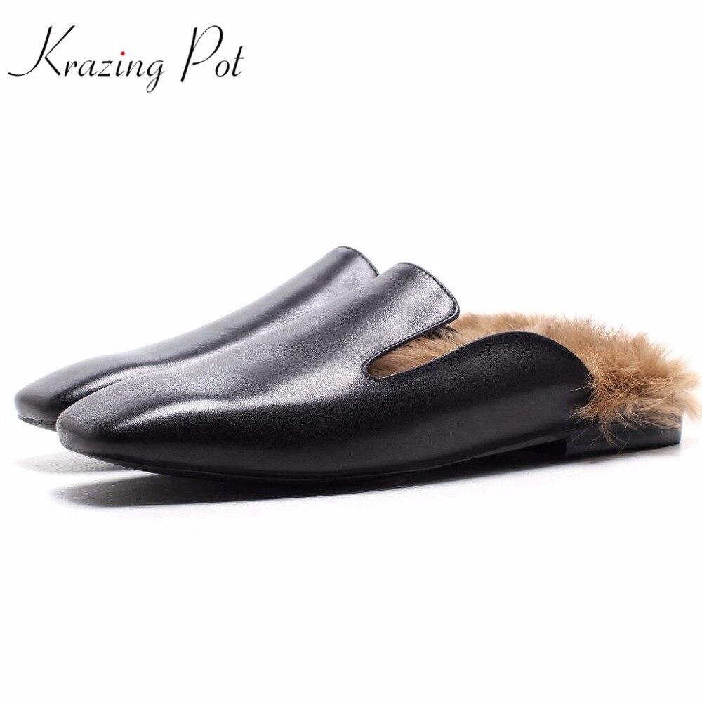 Krazing pot/модные брендовые весенние винтажные туфли вне тапочки с квадратным носком низкая женские туфли-лодочки на каблуке кроличий мех для б...
