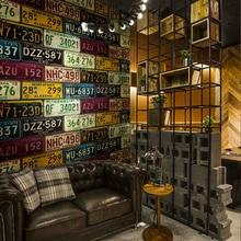 Loft Retro 3d Pvc Behang Functie Auto Kenteken Tin Retro Achtergrond Vinyl Behang Voor Bar Restaurant Ktv Achtergrond