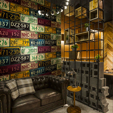 Loft Retro 3d pvc Wallpaper Feature Car License Plate Tin Retro Backdrop Vinyl Wall Paper For Bar Restaurant KTV Background