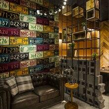 Loft Retro 3d tapeta z pvc funkcja prawo jazdy płyta cyny Retro tło winylu tapeta na tle baru restauracja KTV
