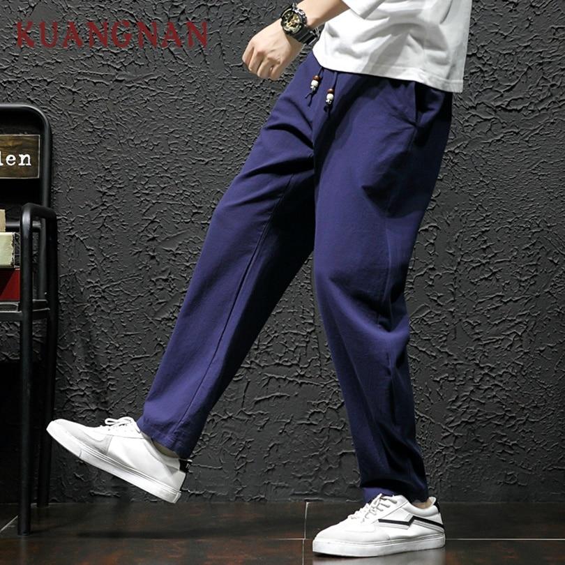 KUANGNAN Joggers Men Pants Sweatpants-Trousers Japanese Streetwear Chinese-Style Hip-Hop