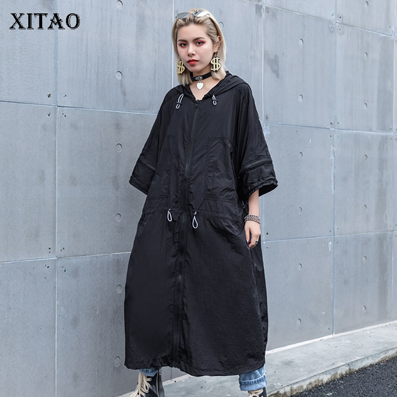[XITAO] 2019 New Europer Casual Loose Three Quarter Sleeve Hooded Solid   Trench   Color Fashion Women Summer Long   Trench   ZLL3444