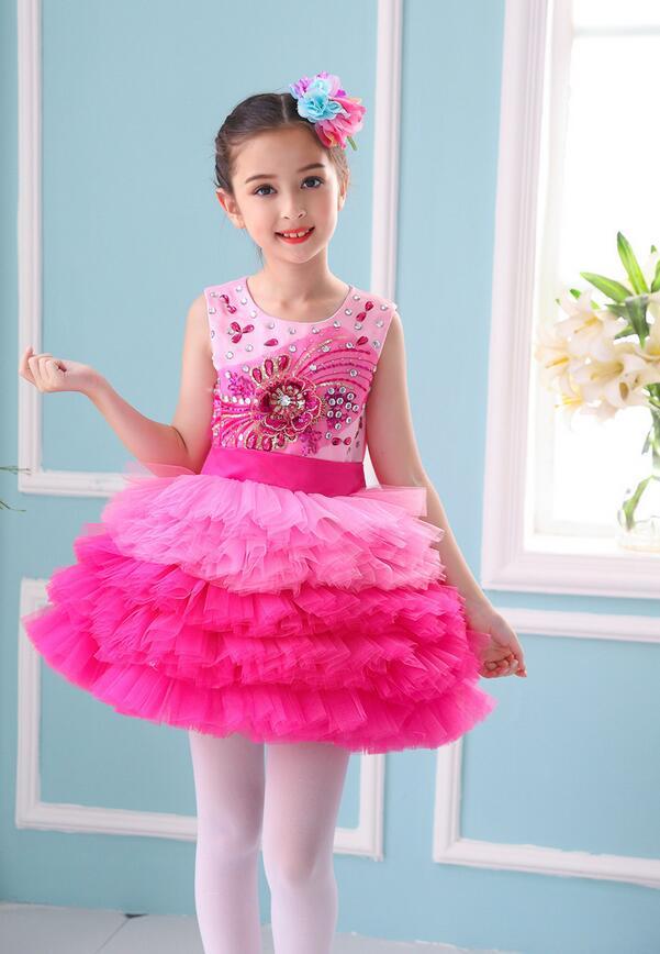 Пышное платье принцессы для девочек; вечерние костюмы для бальных танцев; одежда для выступлений в студенческом хоре; одежда с блестками; юбка из плотной пряжи - Цвет: Красный