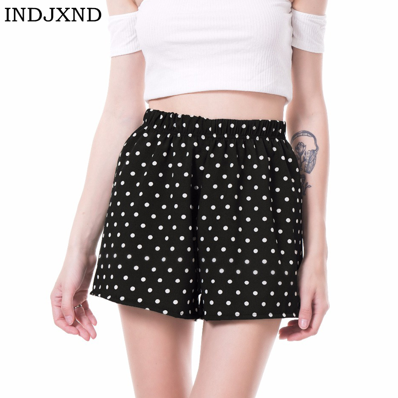 INDJXND Elastic Waist Women Chiffon Shorts Dot Style Casual Summer Shorts Mid Waist Loose Short Beach Flare Shorts New S-XL