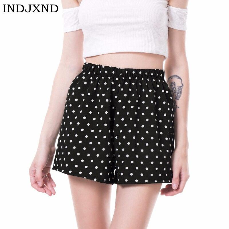 INDJXND Elastic Waist Women Chiffon   Shorts   Dot Style Casual Summer   Shorts   Mid Waist Loose   Short   Beach Flare   Shorts   New S-XL