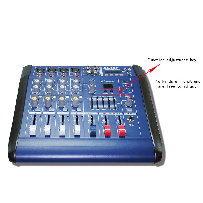 Hot Sales Home Use Amplifier Audio DJ Mixer 4-Way Power Mixer 3 EQ and  16-Mode with Reverb Bluetooth and Sending Phone Headset