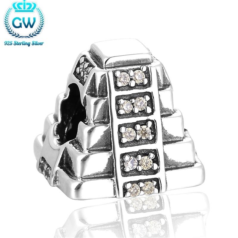 Marke original 925 maya pyramide mit hellgrün cz fit diy schmuck schlangenkette armband großhandel gw marke schmuck x358