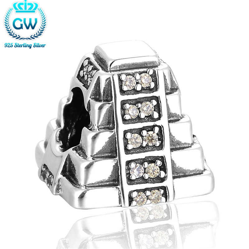 Brand Original 925 Mayan Pyramid With Light Green Cz Fit Diy Jewelry Snake Chain Bracelet Wholesale GW Brand Jewellery X358