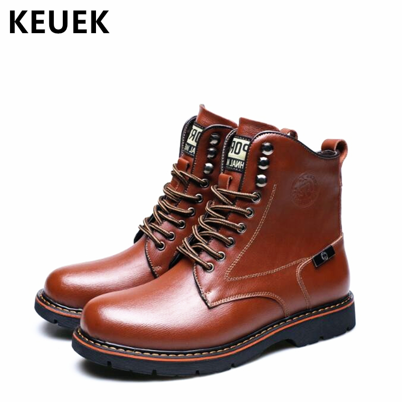 Autumn Winter Men Martin boots Ankle Lace-Up Tooling shoes Genuine Leather Outdoor Motorcycle boots Male Snow boots 02A z suo brand autumn winter men s genuine leather tooling boots lace up brush off cow leather handmade men ankle boots