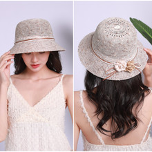 Fashion Beach Sun Hat Spring Summer Outdoor Ms. Mixed Color Knit Straw Flower Basin Fisherman
