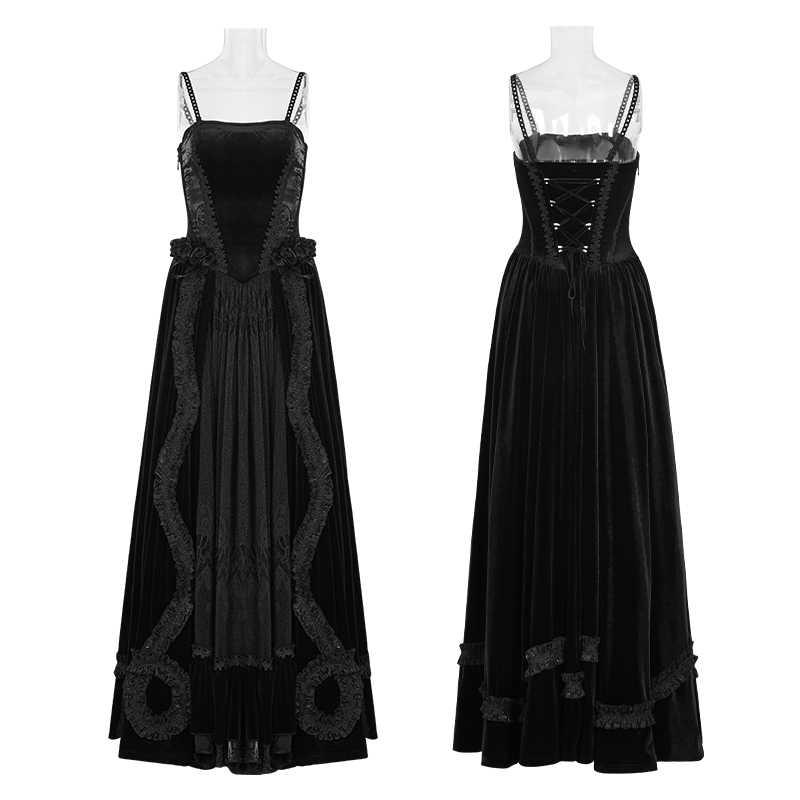 9f13a15201c46 ... PUNK RAVE Gothic Palace Gorgeous Velvet Stitching Women Night Dress  Sling Straps Lace Bandage Female Dresses ...