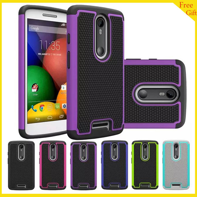 "2in1 Rugged Armor Heavy Duty Silicone Hard Phone Cover Case For Motorala Moto X Force Droid Turbo 2 XT1585 5.4"" Case Back Cover"