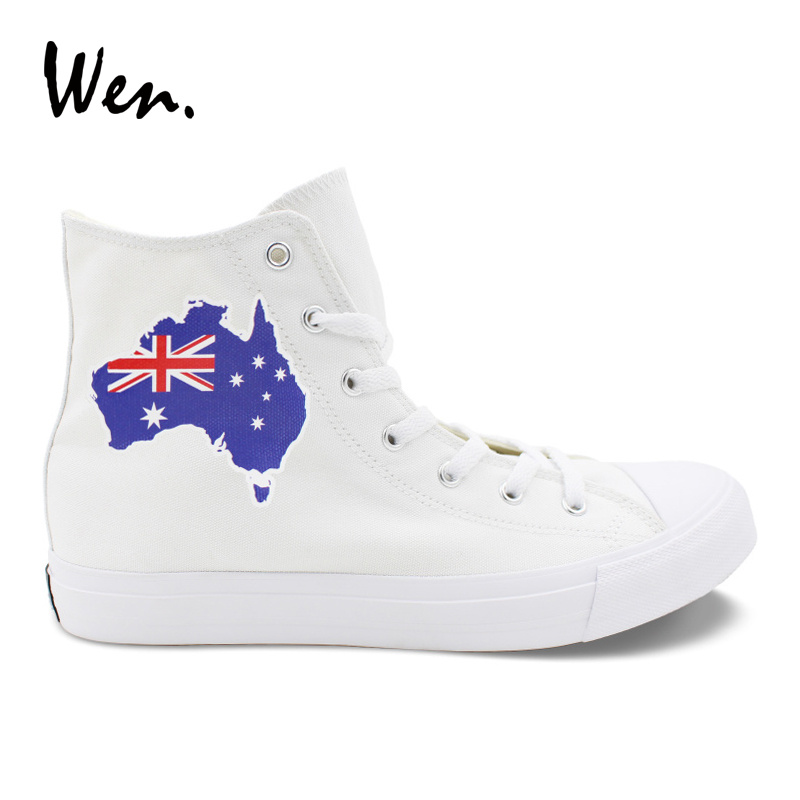 Map Of Australia For Students.Us 24 99 49 Off Wen Australia Flag Map Design White Canvas Shoes Students Sneakers High Top Vulcanized Shoes Teens Plimsolls Travel Theme In Men S