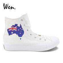 Wen Australia Flag Map Design White Canvas Shoes Students Sn