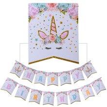 FoPcc Glittering Unicorn Happy Birthday Banner Baby Shower Kids Party Decor Cartoon Flags Supplies