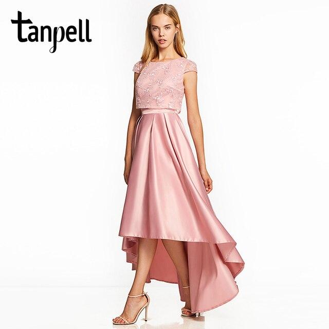 Tanpell асимметричные платья для выпускного вечера Розовый Cap рукава голеностопного Длина линии платье дешевые леди кружева выпускной бал вечернее длинное платье для выпускного вечера