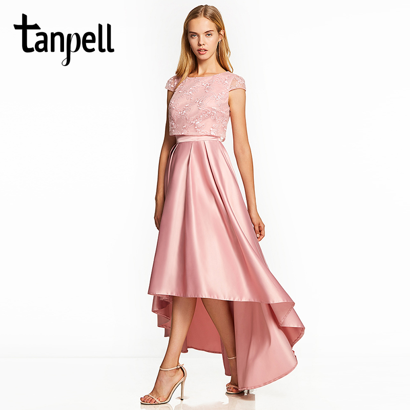 Tanpell asymmetry   prom     dresses   pink cap sleeves ankle length a line gown cheap lady lace graduation party formal long   prom     dress
