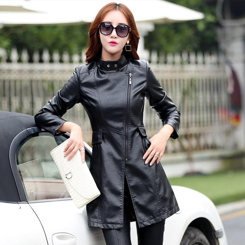 b XS-5XL   Leather   Coat Jacket Women Fashion Slim Patchwork Long Female Jacket High Quality PU Motorcycle Autumn Winter Outerwear