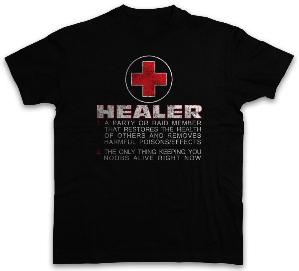 HEALER ROLE T-SHIRT Fun Gamer Gaming Symbol computer scientist Raid RPG Heiler