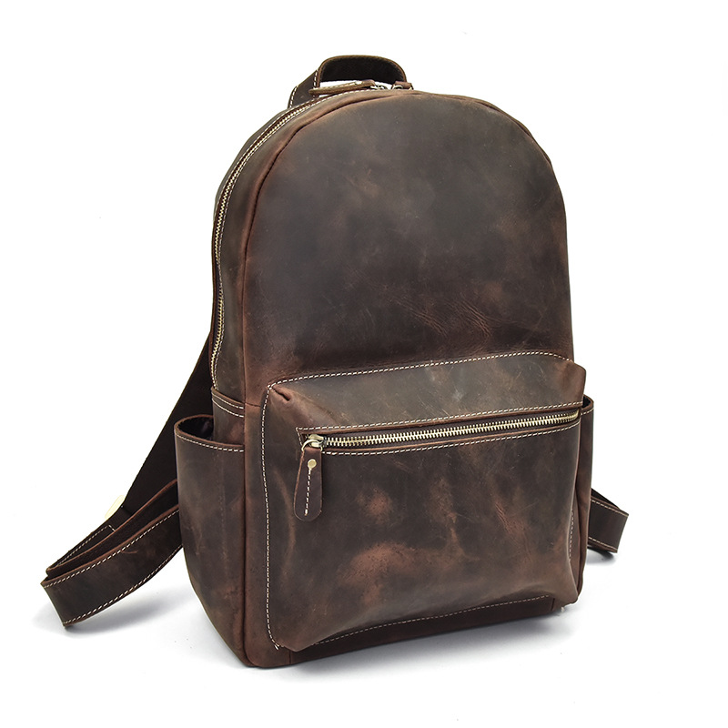 Genuine leather casual large backpack solid school bag for menGenuine leather casual large backpack solid school bag for men