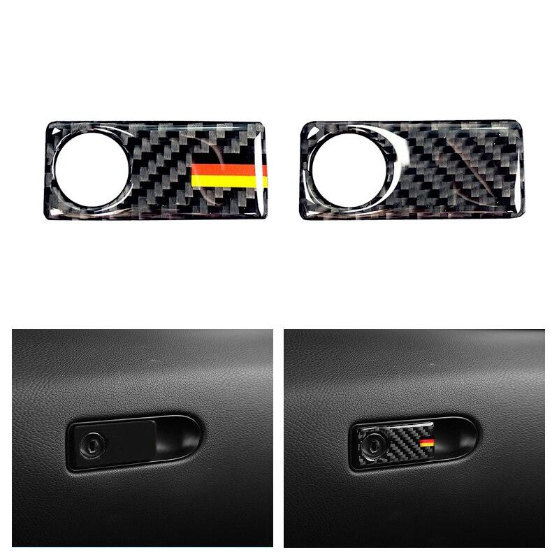 Carbon Fiber Co-pilot Storage Box Handle Cover Trim For Mercedes C Class W205