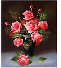New Diy 5D Diamond Painting Beautiful Full Flowers Red Rose Resin Crafts Decoration Mosaic Embroidery Scroll