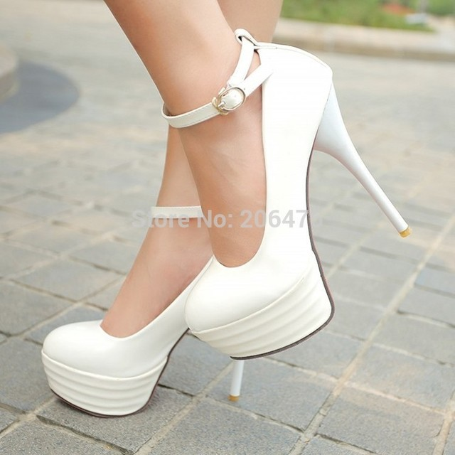 HOT Big size 34-44 2015 new sexy pu leather  shoes women's pumps thick platform high heels wedding shoes