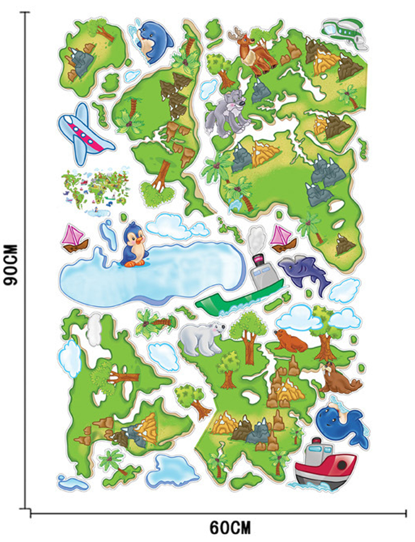 New DIY American Europe Green Plant Animal Cartoon World Map - Map of europe for children