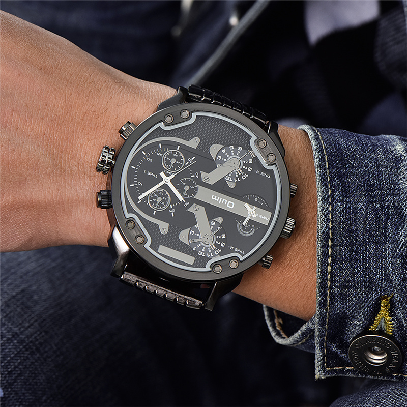 Topdudes.com - Super Large Dial Two Time Zone Luxury Military Quartz Watch