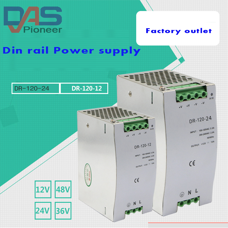 цена на DR-120-24 120W 24V 5A Din rail Single Output Switching power supply ac dc converter SMPS