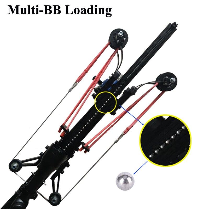 Semi automático estilingue caça pesca arco poderoso catapulta carretel multifuncional bola de aço munição seta tiro contínuo 40bb