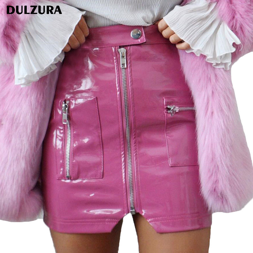 Dulzura zipper pocket PU leather mini female skirt 2018 summer autumn sexy pink solid women party bottom