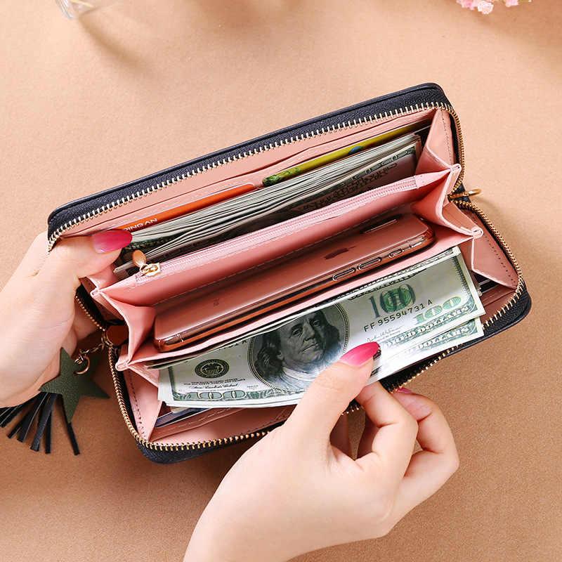Cartera de cuero PU para mujer, cartera larga para mujer, cartera con letras, bolso para muñeca, bolso para mujer, monedero, tarjetero embrague
