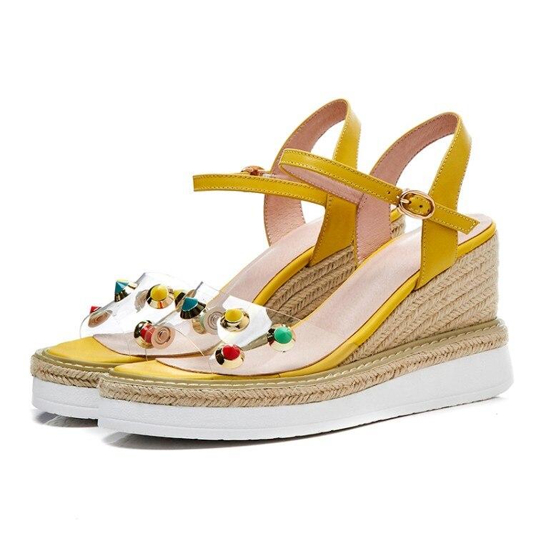 2018 Concisa Mujeres Cuña Las Punta Mujer Sandalias De Abierta blanco Los Rosado Verano Estilo amarillo Casuales Tacones Plataforma Altos Señoras Moda Zapatos {zorssar} 48qdd