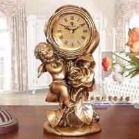 christmas European gold clock Angel Rose molding process schedule desktop clock
