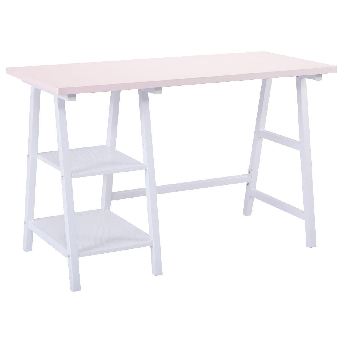 Giantex Office Living Room Furniture Modern Trestle Desk Laptop ...