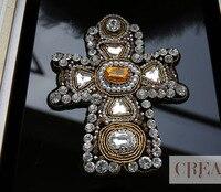 Punk perlé croix conception brodé applique patch décoration coudre sur les patchs pour les vêtements dessèche para la ropa
