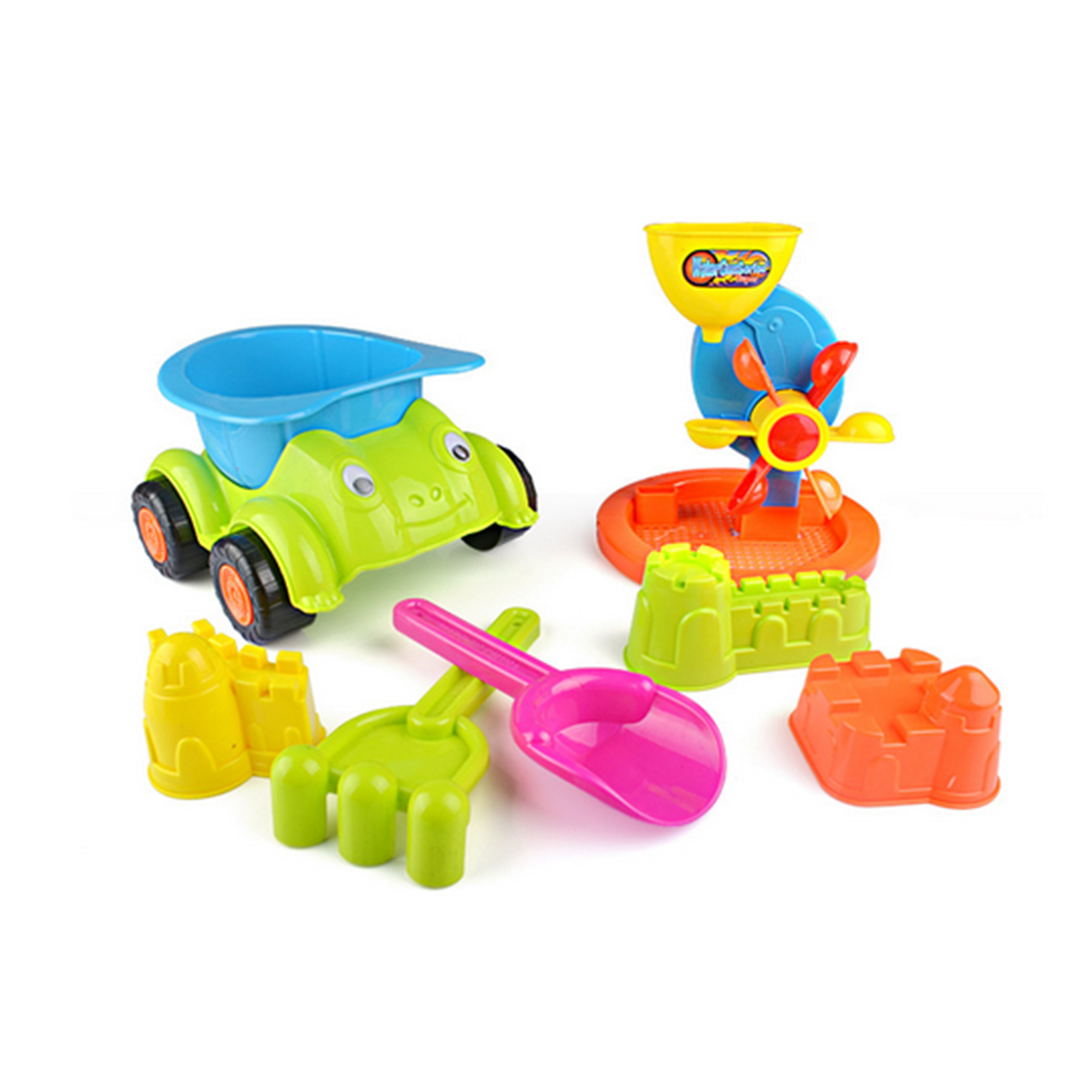 7-In-1 Large Beach Car Toy Set Plastic Outdoor Beach Play Toys For Children Gifts - Random Color