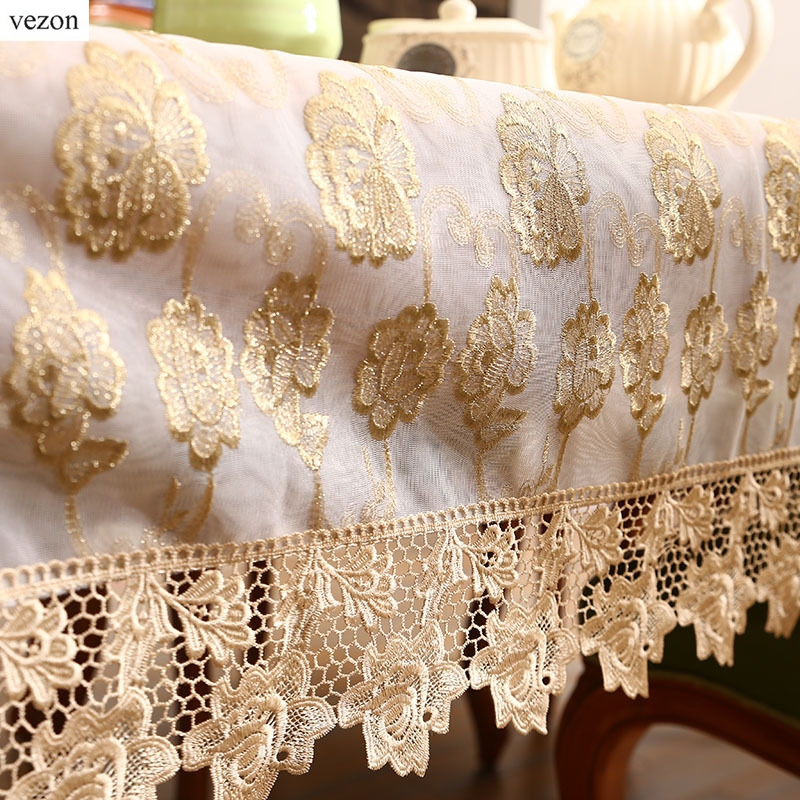 vezon New Arrival Hot Sale Luxury Gold Full Lace Tablecloth Delicate Lace Floral Table Cloth