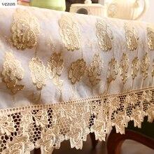 Vezon Neue Ankunft Heißer Verkauf Luxus Gold Volle Spitze Tischdecke Empfindliche Spitze Blumen Tischdecke Overlay Home Handtuch Textilien