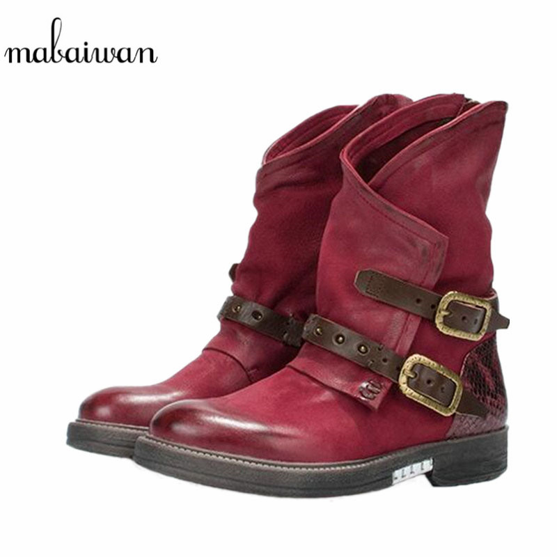 Mabaiwan Fashion Genuine Leather Women Shoes Winter Snow Ankle Boots Flats Buckle Shoes Women Military Short Martin Cowboy Boots mabaiwan handmade rivets military cowboy boots mid calf genuine leather women motorcycle boots vintage buckle straps shoes woman