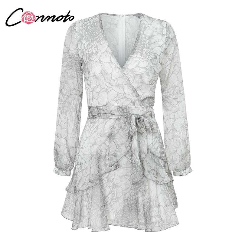 1352f8019c4 ... Conmoto Vintage Print Long Sleeve Dresses Female Elegant Party Short  Dresses Winter Chic Ruffles Chiffon Dress
