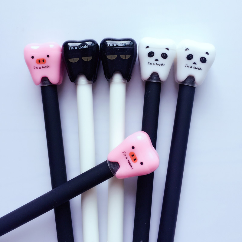 I34 3X Cute Kawaii Tooth Design Lovely Pig Panda Cat Gel Pen Writing Signing Pen Student Stationery School Office Supply Gift