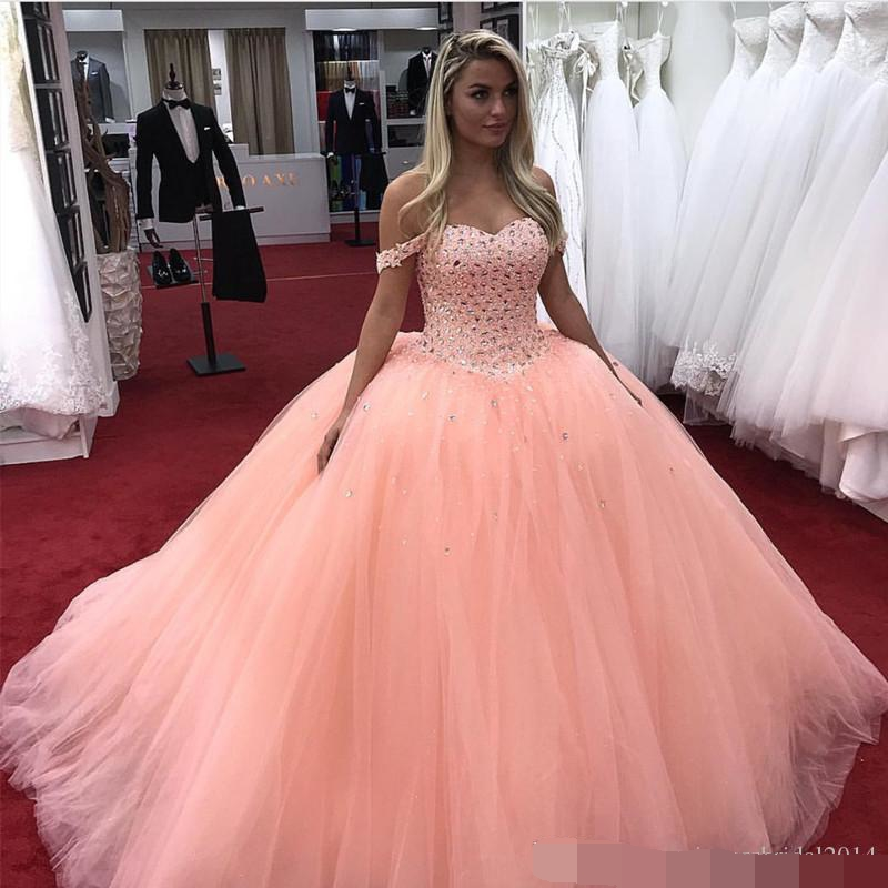Crystal Beaded Quinceanera Dresses 2019 Prom Dress Off The Shoulder Puffy Ball Gown Sweet 16 vestidos de 15 anos in Quinceanera Dresses from Weddings Events