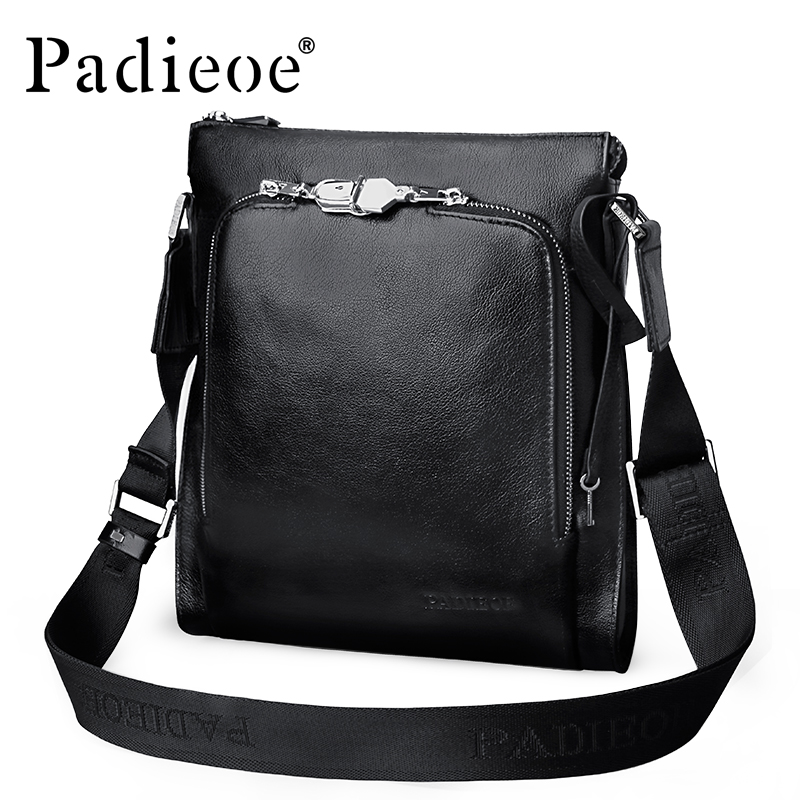 Padieoe Men's Real Cow Leather Shoulder Bag Handbag Genuine Cowhide Leather Vintage Crossbody Bag Designer male Messenger Bags padieoe famous brand shoulder bag genuine cow leather crossbody bag classic designer messenger bag high quality male bags