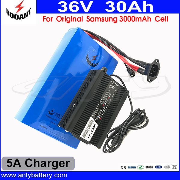 1500W Electric Bike Battery 36V 30AH Lithium Scooter Battery For Bafang Motor Use Original Samsung 18650 Cell With 5A Charger 30a 3s polymer lithium battery cell charger protection board pcb 18650 li ion lithium battery charging module 12 8 16v